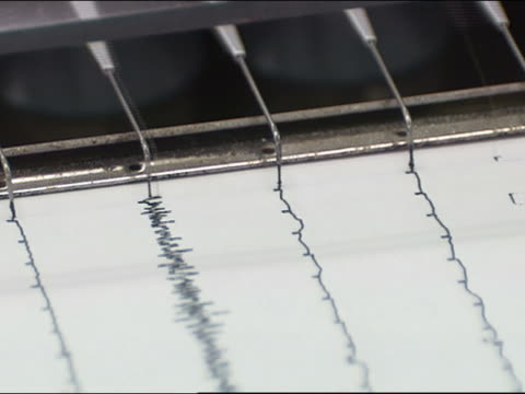 cu seismogram printing seismic graph lines - earthquake stock videos & royalty-free footage