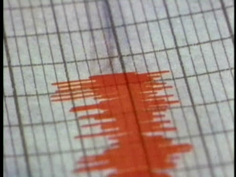1970 montage cu ms seismograph making lines on graph paper / hawaii / audio - graph paper stock videos & royalty-free footage