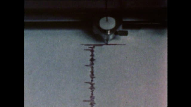 cu of seismograph needle moving left and right - erdbeben stock-videos und b-roll-filmmaterial