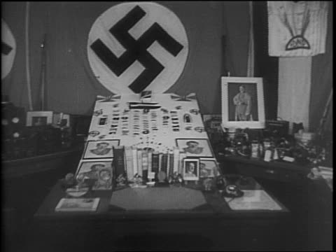 seized nazi propaganda being stored at the fbi headquarters in new york / view of door with 'federal bureau of investigation' on glass / cameras and... - the bund stock videos & royalty-free footage