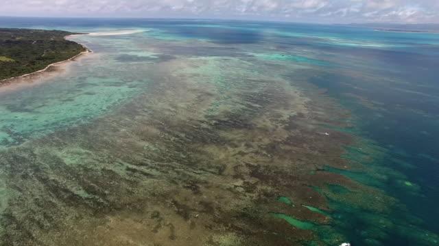 aerial, sekisei coral reef lagoon, okinawa, japan - environmental damage stock videos & royalty-free footage