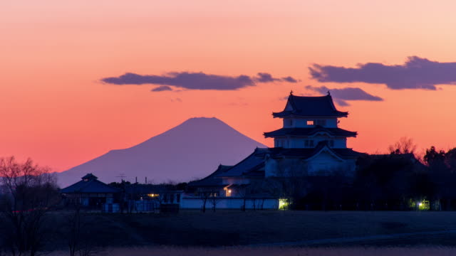sekiyado castle and m't fuji at dusk - 城点の映像素材/bロール