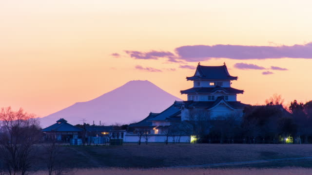sekiyado castle and mt. fuji at dusk, wide timelapse - shrine stock videos & royalty-free footage