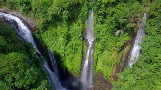 sekumpul fiji waterfall singaraja bali drone view - singaraja stock videos & royalty-free footage