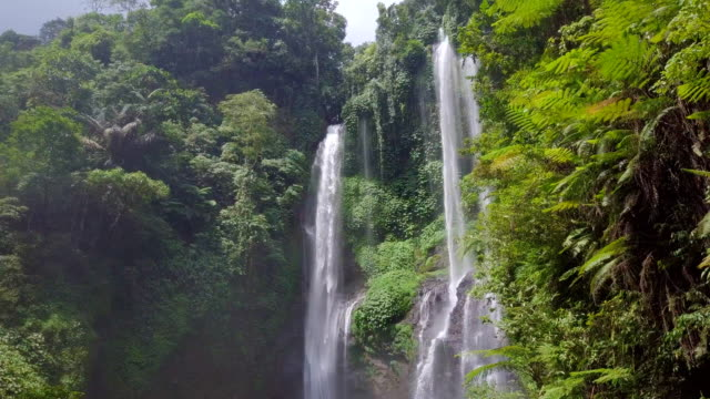 sekumpul fiji waterfall singaraja bali steady drone view - perfection stock videos & royalty-free footage