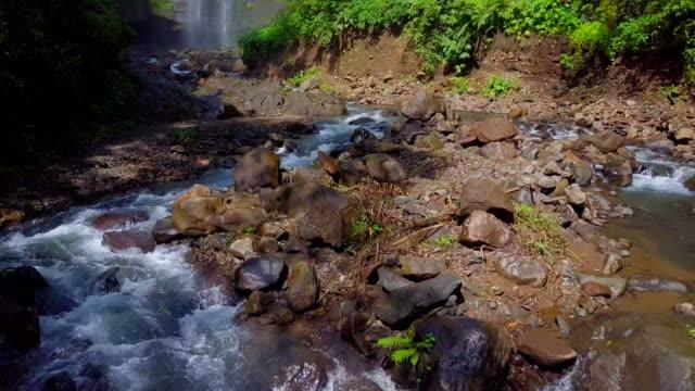 sekumpul fiji waterfall stream singaraja bali drone view - singaraja stock videos & royalty-free footage
