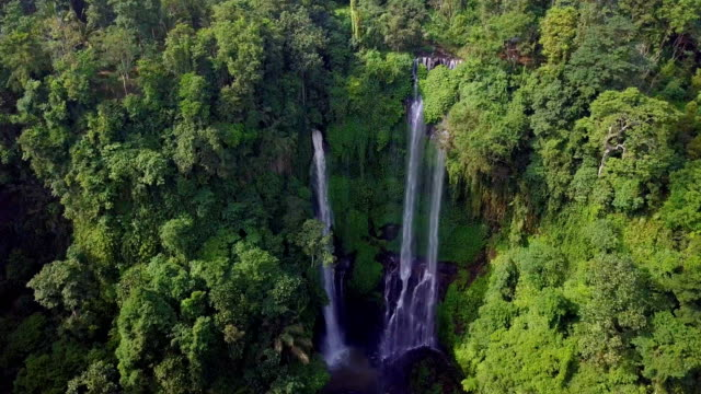 sekumpul waterfall north bali drone view - rainforest stock videos & royalty-free footage