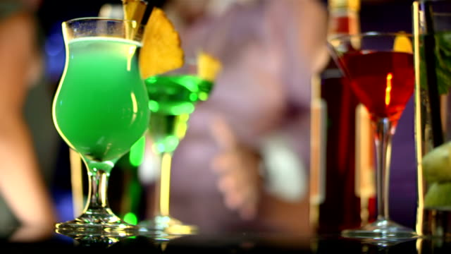 hd: selection of cocktails in night club - cocktail stock videos & royalty-free footage