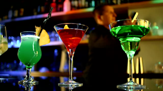 hd dolly: selection of cocktails on a bar counter - waiter stock videos & royalty-free footage