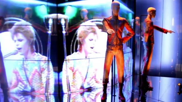 selection of costumes and outfits worn by musician and actor david bowie are displayed at the david bowie is exhibition at the v&a museum in london.... - profile stock videos & royalty-free footage