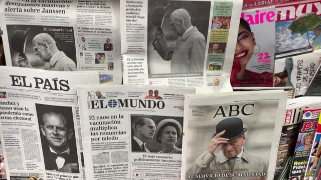 selection of the spanish more important newspapers front pages paying tribute to prince philip, duke of edinburgh who died at age 99 on april 10,... - british royalty stock videos & royalty-free footage