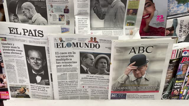 selection of the spanish more important newspapers front pages paying tribute to prince philip, duke of edinburgh who died at age 99 on april 10,... - magazine stock videos & royalty-free footage
