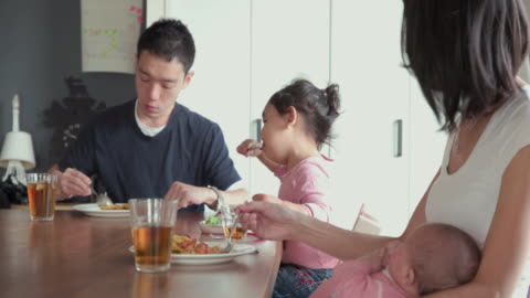 4k, selective focus. japanese family spending time together in their home. tokyo, japan - meal stock videos & royalty-free footage