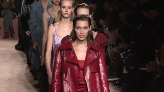 selena forrest bella hadid grace elizabeth joan smalls their fellow models and designer paul surridge on the runway for the roberto cavalli ready to... - roberto cavalli stock videos and b-roll footage