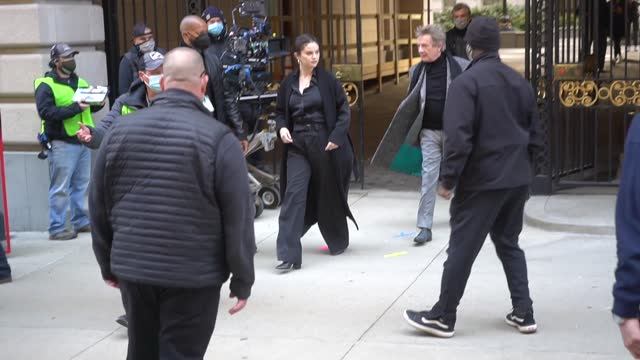 "selena gomez and martin short are seen on set for ""only murders in the building"" in the upper west side on march 10, 2021 in new york city. - martin short stock videos & royalty-free footage"
