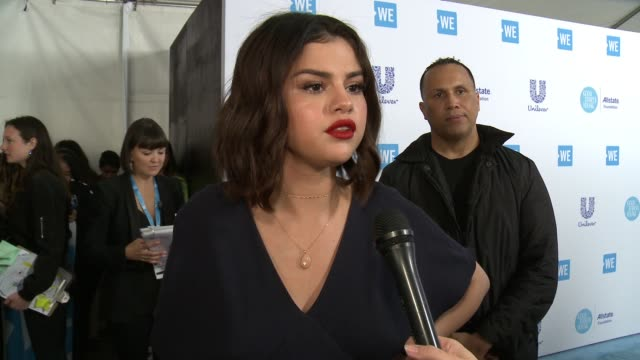 interview selena gomez on 16000 youth are going to be here today all who earn their tickets by doing good in the world how important do you think it... - selena gomez stock videos & royalty-free footage