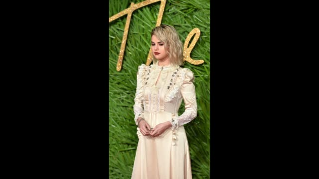selena gomez poses for photographers on the red carpet at the fashion awards 2017 at royal albert hall on december 4 2017 in london england - 2017 stock videos & royalty-free footage