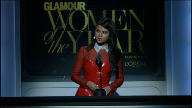 SPEECH Selena Gomez presents an award at Glamour Magazine's 25th Annual Women Of The Year Awards at Carnegie Hall on November 09 2015 in New York City