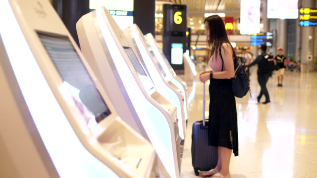 self check in at the airport - self service stock videos & royalty-free footage