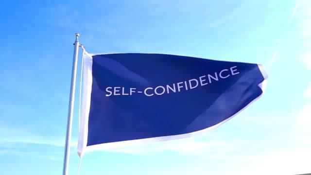 stockvideo's en b-roll-footage met zelf - vertrouwen vlag - assertiviteit