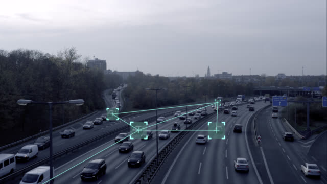 self driving autonomous cars on highway - internet of things stock videos & royalty-free footage