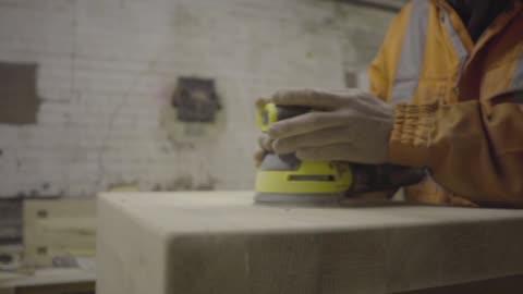 self employed carpenter woodwork wood sanding sander workshop motion gimbal - sander stock videos & royalty-free footage