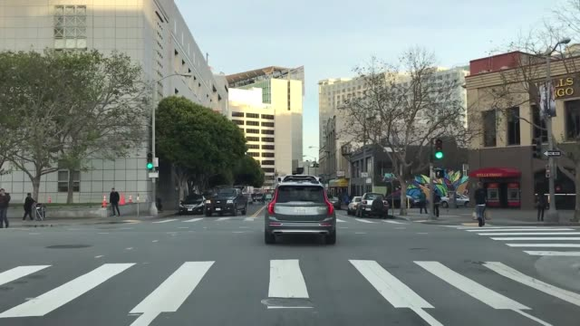 a selfdriving volvo seen at the streets of san francisco on december 21 2016 uber's fleet of autonomous vehicles was launched first in pittsburg in... - fleet of vehicles stock videos and b-roll footage