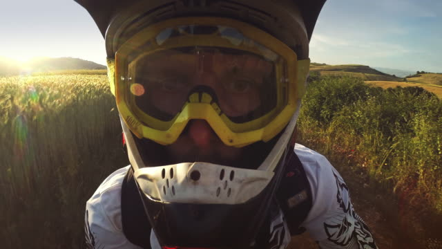 selfie arm motocross enduro bike outdoor - wearable camera stock videos & royalty-free footage