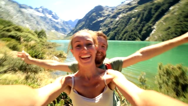 selfie at lake marian in new zealand - new zealand stock videos & royalty-free footage