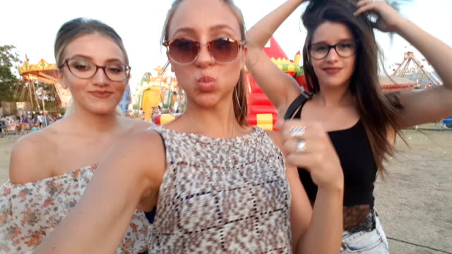 selfie at the county fair - pouting stock videos & royalty-free footage