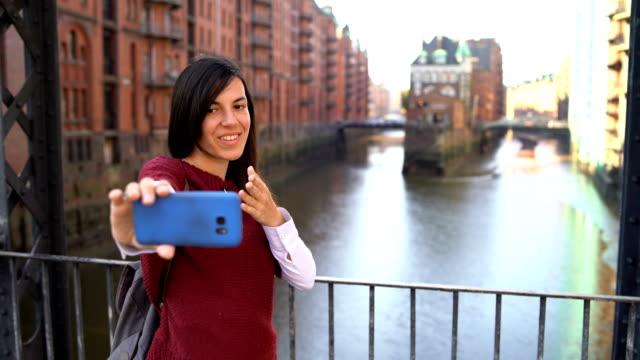 selfie in hamburg old town - hamburg germany stock videos & royalty-free footage