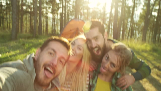 selfie in nature - young men stock videos & royalty-free footage