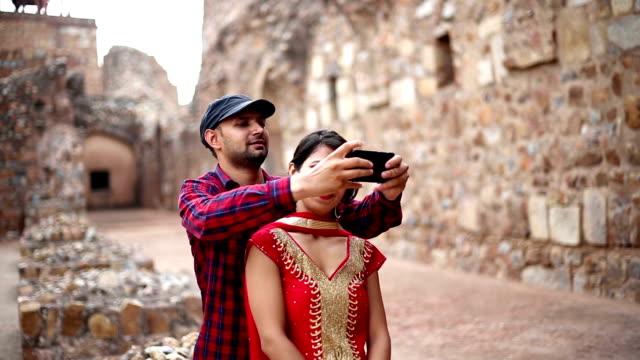 selfie in purana qila, delhi/india - 3rd century bc stock videos & royalty-free footage