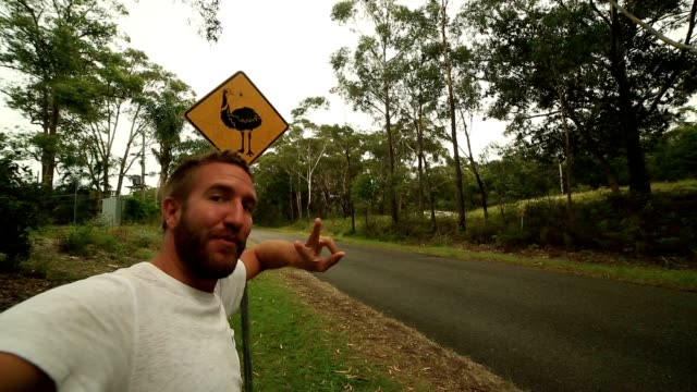selfie of young man standing near emu warning sign, australia - road warning sign stock videos & royalty-free footage