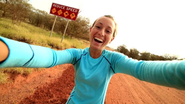 Selfie portrait of a young woman in the Australian outback