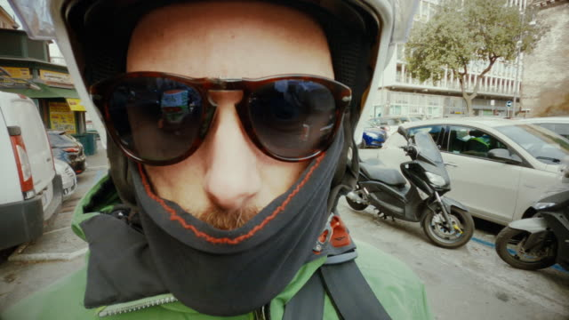 selfie scooter winter riding: on the motorbike in the center of rome - electrical equipment stock videos & royalty-free footage