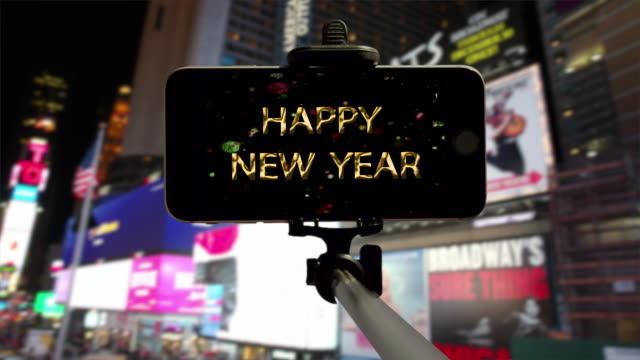 selfie smartphone happy new year count down times square new york - entertainment center stock videos and b-roll footage