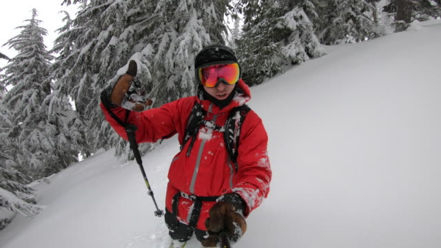 pov selfie stick view of snow skiing on in fresh powder snow in the mountains. - wintersport stock-videos und b-roll-filmmaterial