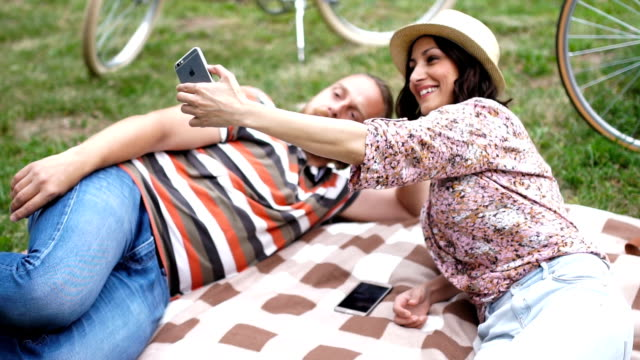 selfie time in the park - picnic stock videos & royalty-free footage