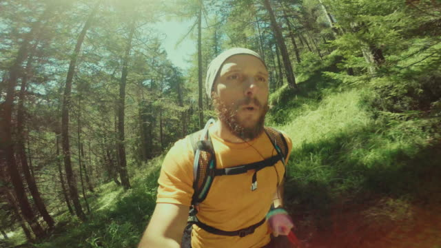 pov selfie trail running on the mountain - gopro stock videos & royalty-free footage