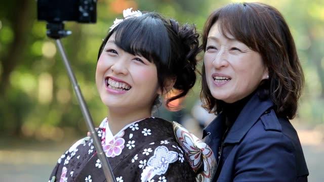 selfie - kimono stock videos and b-roll footage