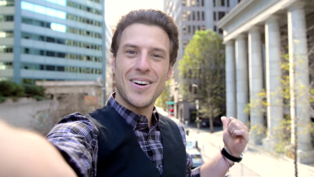 selfie video message in san francisco - pov - selfie stock videos & royalty-free footage