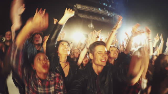 selfiestick in concert crowd - point of view stock videos & royalty-free footage