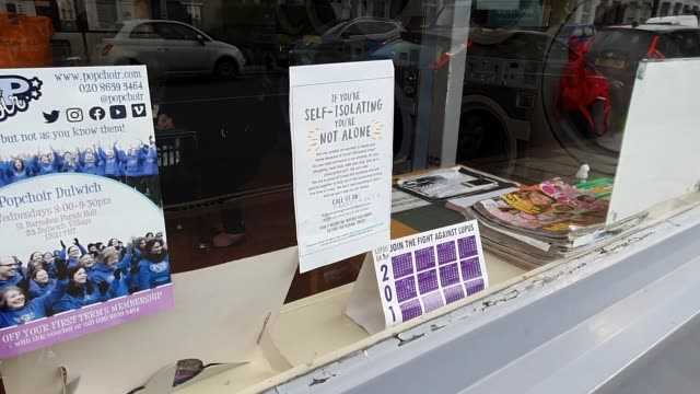 a selfisolating community goodwill poster seen in the window of a launderette during the coronavirus pandemic in east dulwich on march 17 2020 in... - brian dayle coronavirus stock videos & royalty-free footage