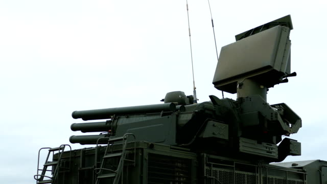 self-propelled anti-aircraft missile and cannon system in combat position - military land vehicle stock videos & royalty-free footage