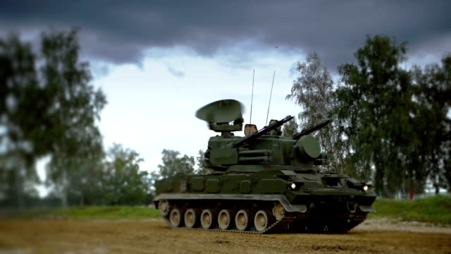 self-propelled anti-aircraft vehicle - armored tank stock videos and b-roll footage