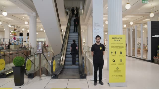 selfridges employee streets shoppers on oxford street on june 15, 2020 in london, england the british government have relaxed coronavirus lockdown... - employee stock videos & royalty-free footage
