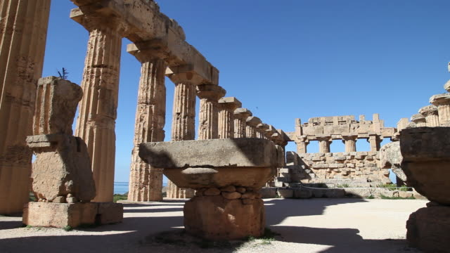 selinunte, general view of temple e, temple of hera, from the 5th century b.c. - archaeology stock videos & royalty-free footage