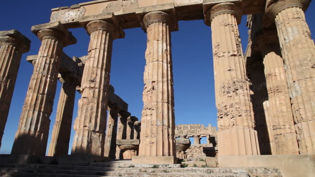 selinunte, the facade of temple e, temple of hera,  from the 5th century b.c. - circa 5th century stock videos & royalty-free footage