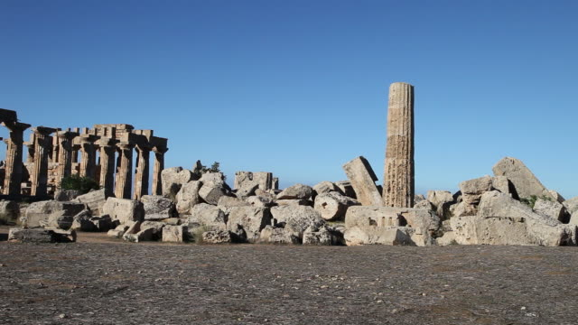 selinunte, view of temple f, from the 6th century b.c. - 6th century bc stock videos and b-roll footage